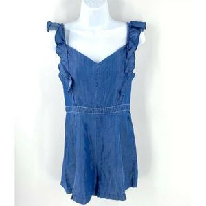 Bebe One Piece Bella Romper Size 6 Blue Chambray